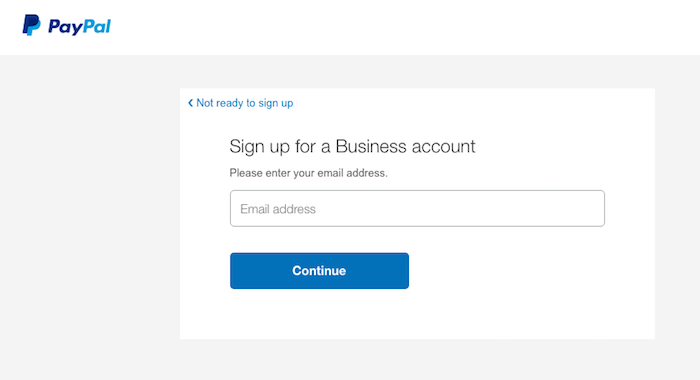 PayPal business signup