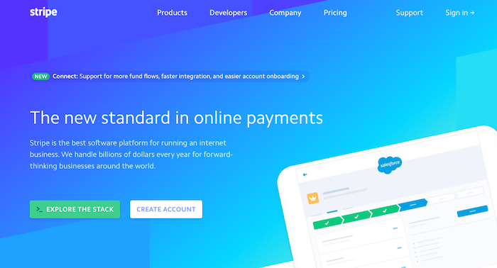 Use stripe for credit and debit card processing and grow your stripe homepage banner screenshot reheart Gallery