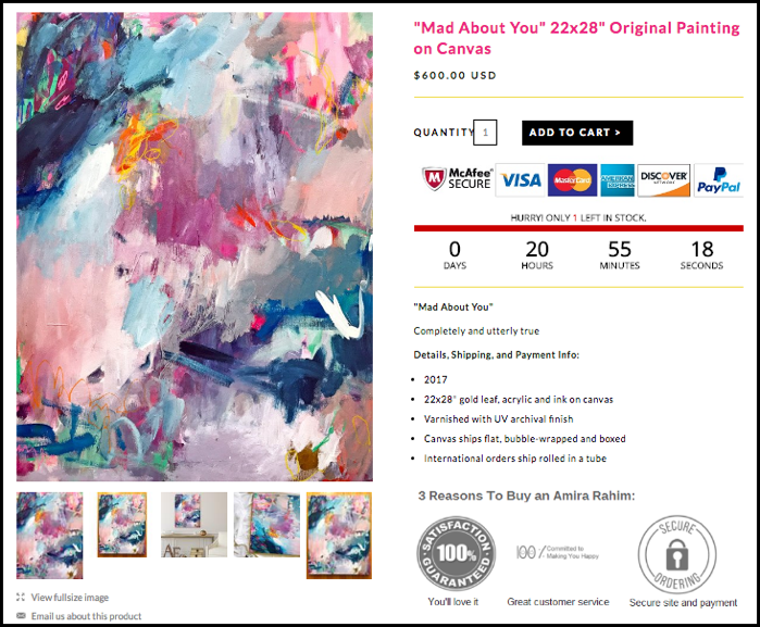 checkout used by artist Amira Rahim