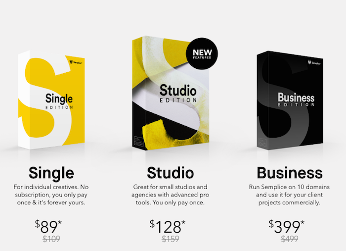 Semplice pricing packages