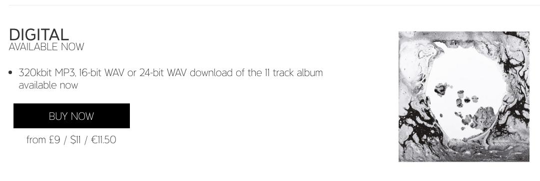 Radiohead album buy direct screenshot