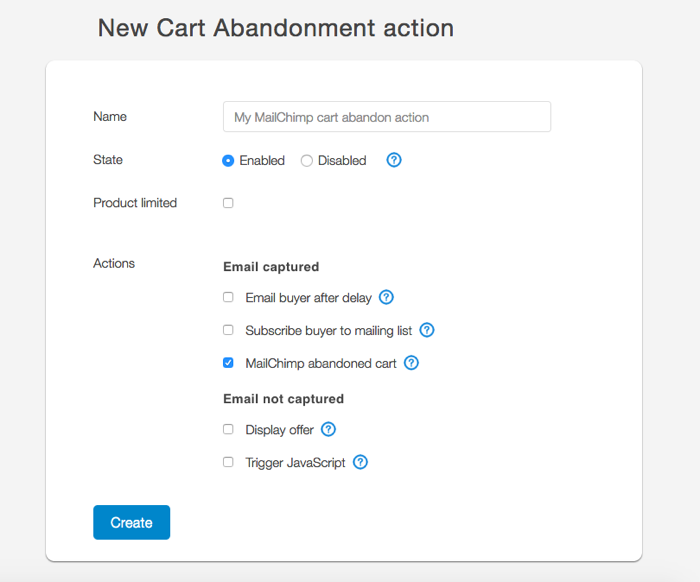 SendOwl Cart Abandonment configuration page showing MailChimp integration