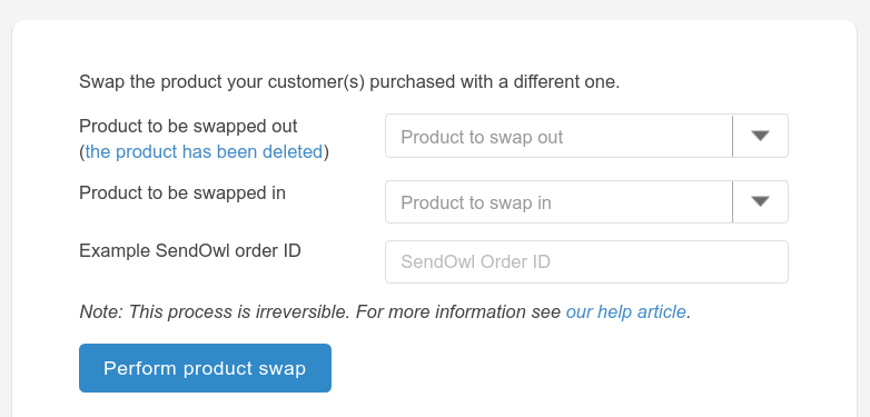 View of the Product Swap function in the SendOwl dashboard